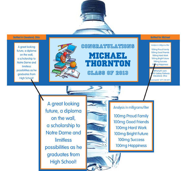 Graduation Sports Theme Water Bottle Label / A graduation sports theme water bottle label