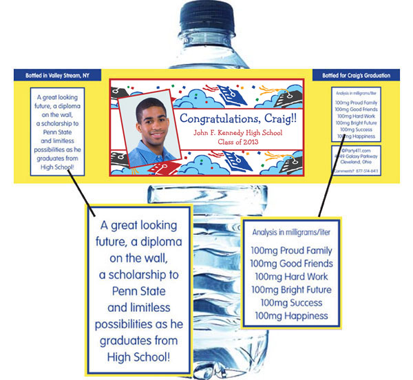 Graduation Picture Theme Water Bottle Label / Add a photo to this graduation water bottle label