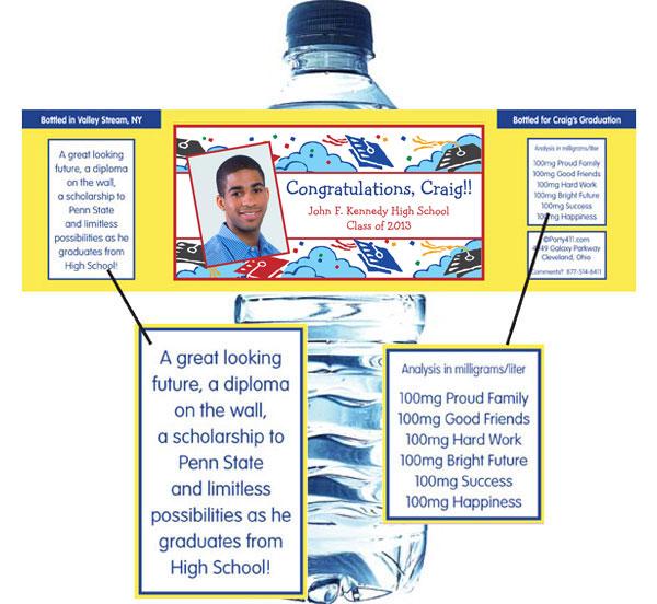Graduation Picture Theme Water Bottle Label