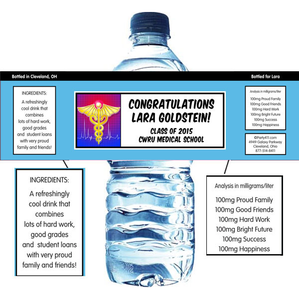 Medical School Graduation Water Bottle Label / A colorful graduation water bottle label for your medical school grad