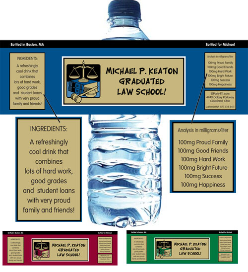 Graduation Law School Water Bottle Label / A colorful graduation water bottle label for your law school grad
