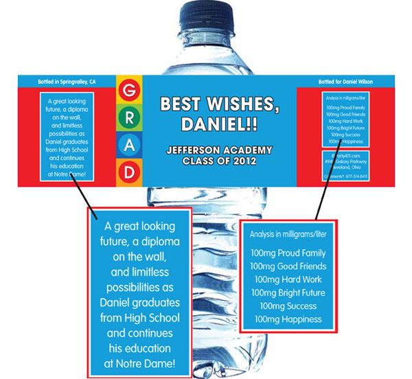Graduation Colorful Theme Water Bottle Label / A colorful graduation water bottle label