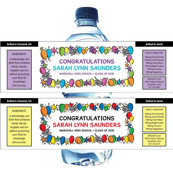 Graduation Balloons Theme Water Bottle Label / Personalized water bottles make great graduation party favors!