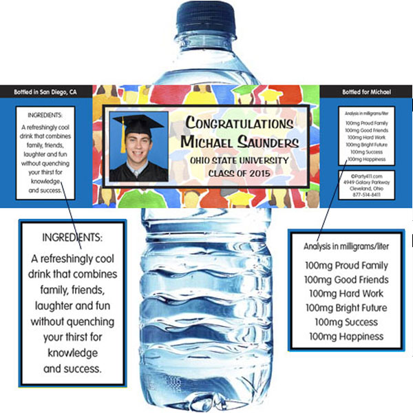 Graduation Crowd Theme Water Bottle Label / Add your photo to this personalized water bottle label party favor