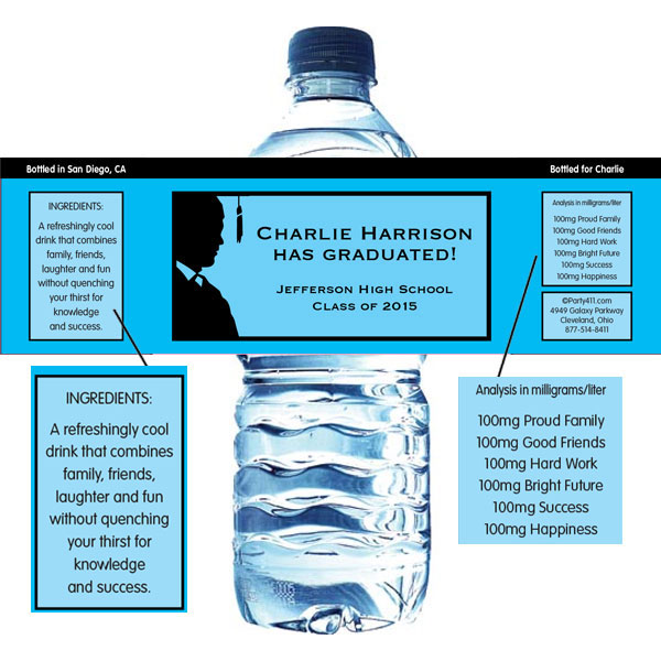 Graduation For Him Theme Water Bottle Label