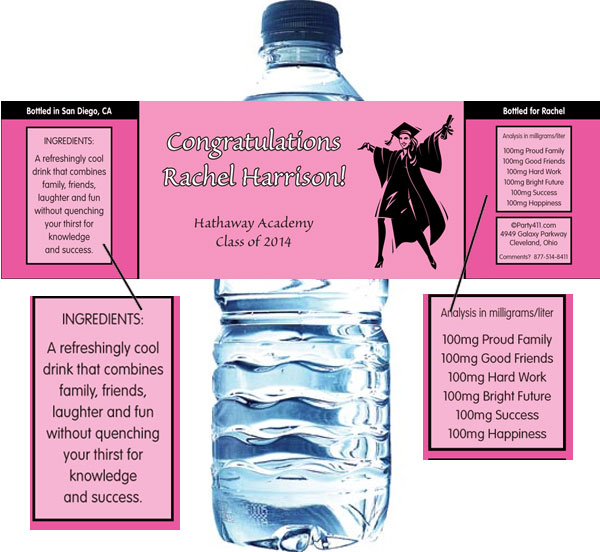 Graduation For Her Theme Water Bottle Label / A personalized graduation theme water bottle label for her