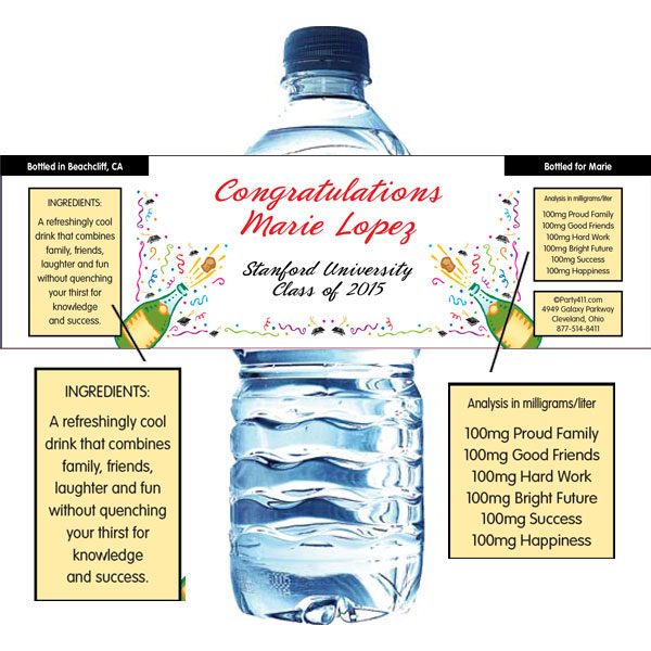 Graduation Champagne Theme Water Bottle Label
