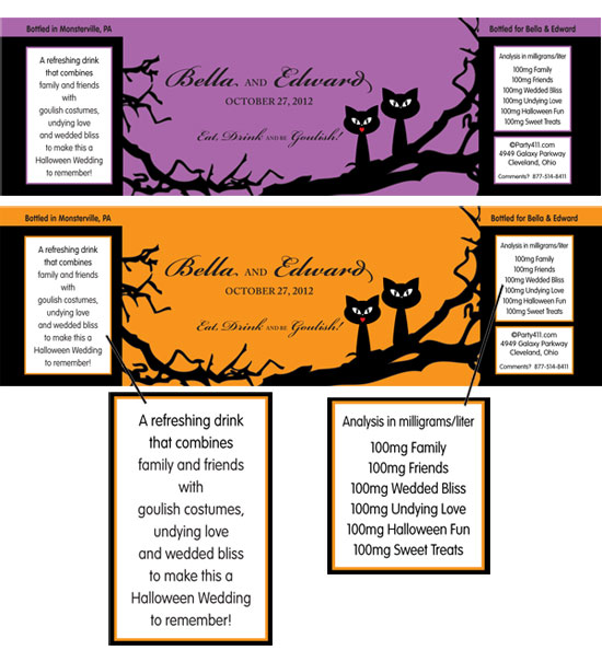 Halloween Wedding Water Bottle Label / This theme water bottle is perfect for a Halloween wedding.