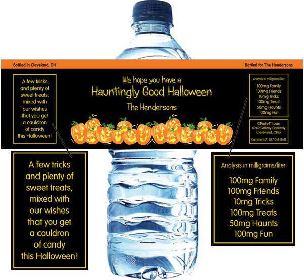 Halloween Fun Pumpkins Water Bottle Label