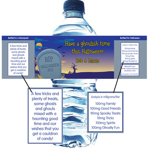 Halloween Graveyard Water Bottle Label / This theme water bottle label will quench all thirst