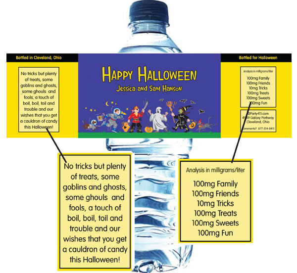 Halloween Kids Trick-or-Treat Theme Water Bottle Label / They'll need something to wash down that candy