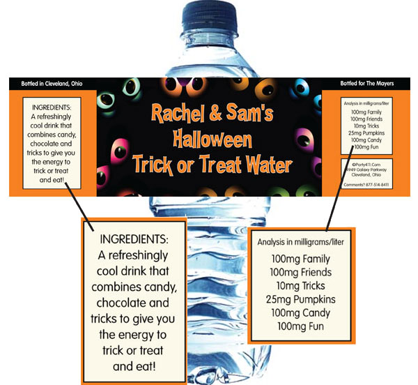 Halloween Eyes Water Bottle Label / All eyes will be on this personalized Halloween water label