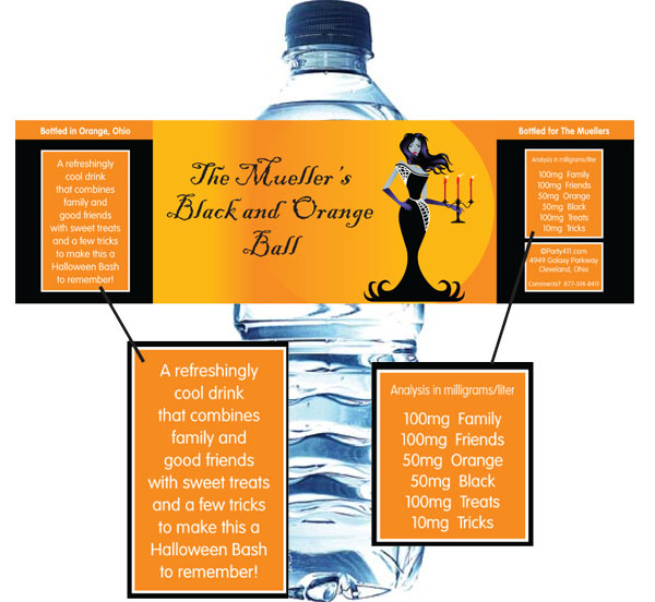 Halloween Ball Water Bottle Label / A great water bottle for your elagent Halloween ball