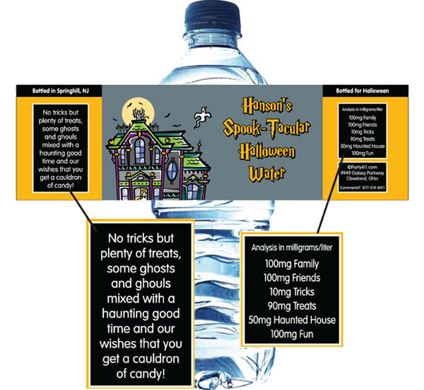 Halloween Spooky House Water Bottle Label