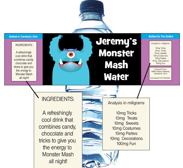 Halloween Monsters Water Bottle Label / Wash down all the treats with a monster theme water bottle label