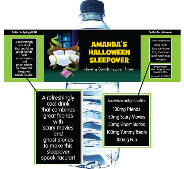 Halloween Sleepover Water Bottle Label