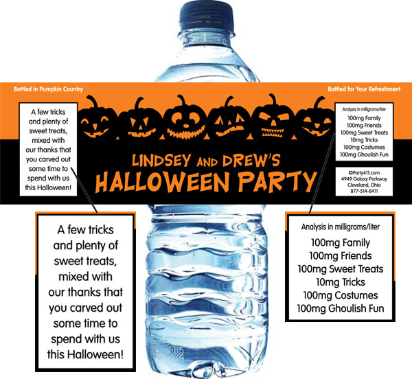 Halloween Jack o Lanterns Theme Bottle Label / A pumpkin fun Halloween treat