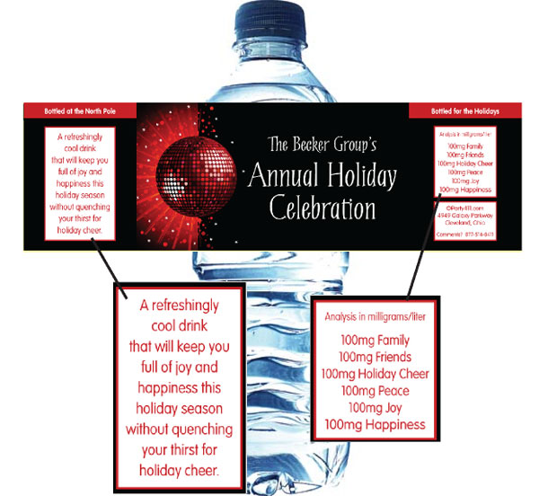 Holiday Party Water Bottle Label / Your guests will need plenty of water at a holiday dance party.
