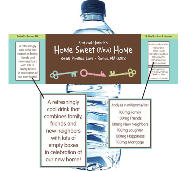Housewarming Theme Water Bottle Label / Set out bottles of water with personalized labels at your housewarming