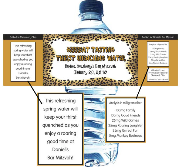 Jungle Water Bottle Label / Perfect favor for your safari party!