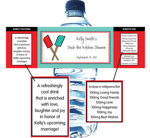 Bridal Shower Kitchen Theme Water Bottle Label / A great kitchen theme water bottle label