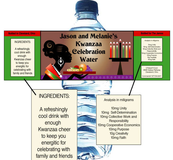 Kwanzaa Celebration Water Bottle Label