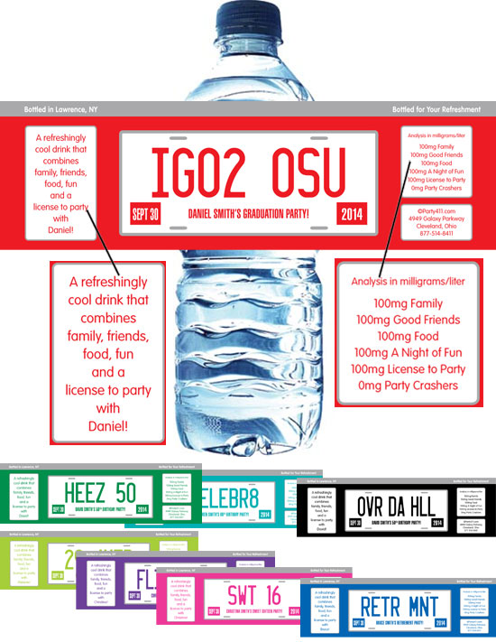 Graduation License Plate Water Bottle Label / Celebrate your graduation with this license plate theme favor!