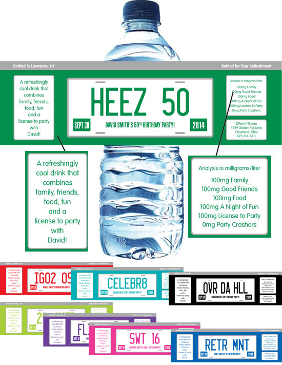 License Plate Theme Water Bottle Label