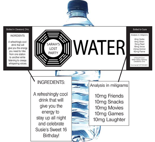 LOST Water Bottle Label / This personalized water bottle label makes for a great party favor