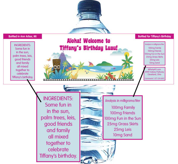 Luau Beach Water Bottle Label