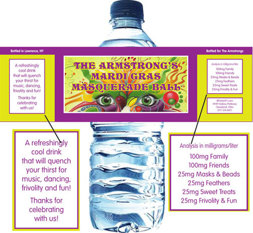 Mardi Gras Masquerade Water Bottle Label