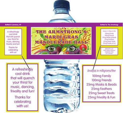 Mardi Gras Masquerade Water Bottle Label
