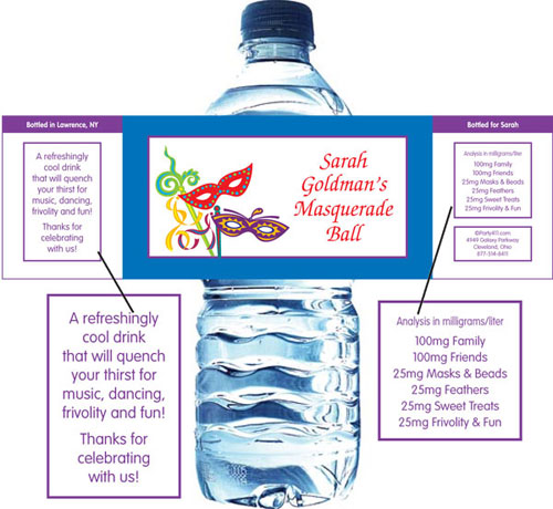 Mardi Gras Masquerade Masks Water Bottle Label
