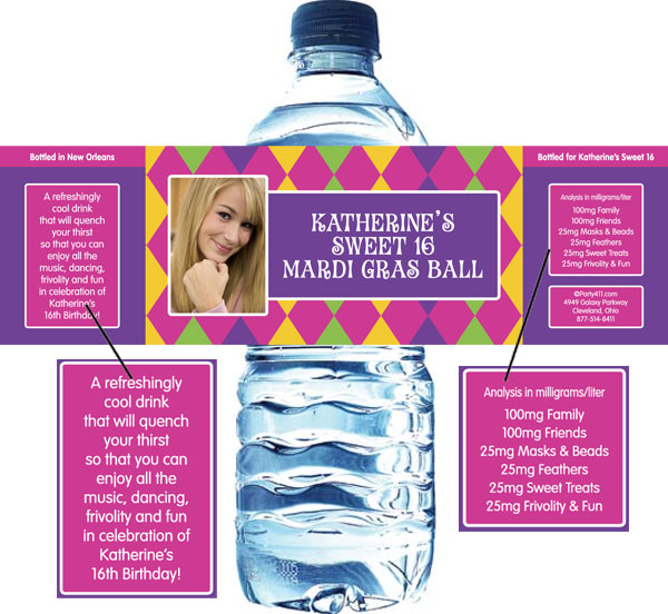 Mardi Gras Party Water Bottle Label