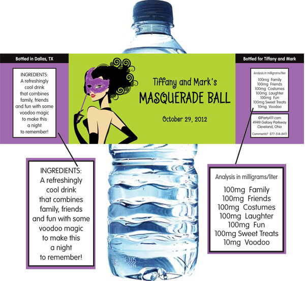Halloween Masquerade Ball Water Bottle Label