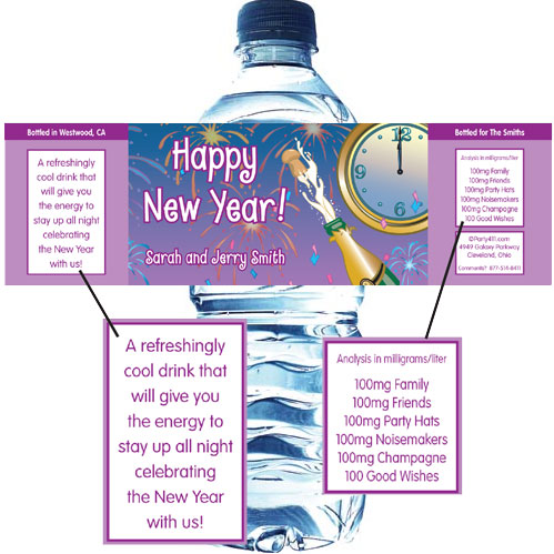 A New Years Eve Toast Water Bottle Label