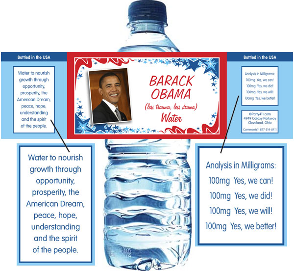 President Obama Inauguration Water Bottle Label