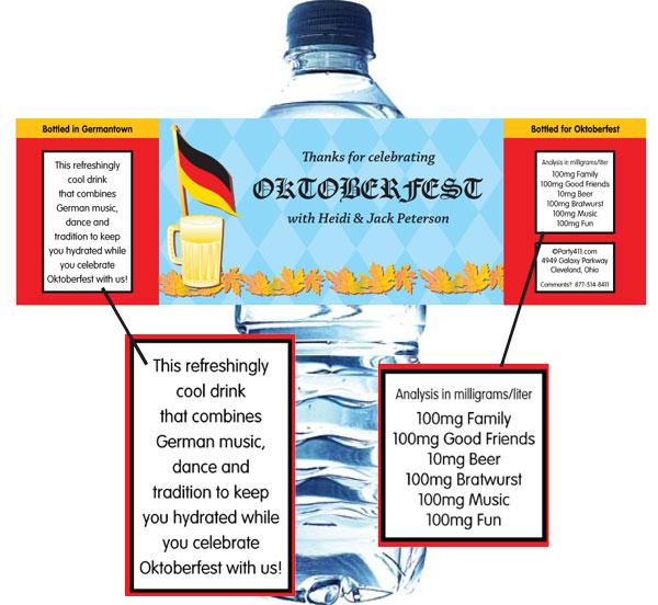 Oktoberfest Party Water Bottle Label