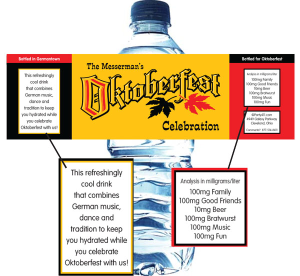 Oktoberfest Festival Water Bottle Label