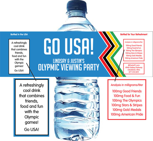 Winter Olympics Water Bottle Label