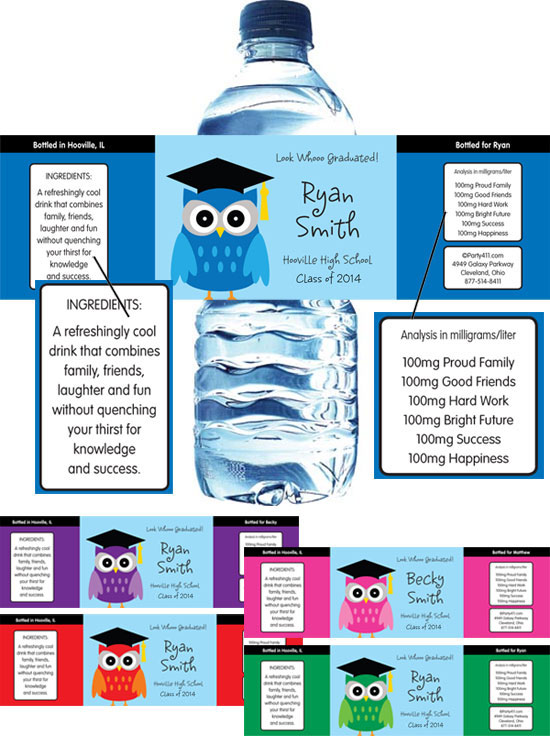 Graduation Owl Theme Water Bottle Label / Celebrate your graduation with this owl theme personalized favor!