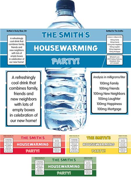 Housewarming Paint Swatch Water Bottle Label