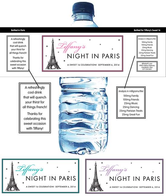 Paris Party Theme Bottle Label