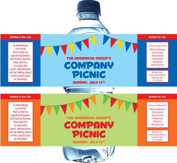 Picnic Theme Water Bottle Label