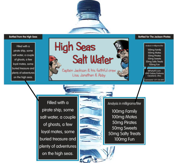 Pirate Theme Water Bottle Label / A great pirate party water bottle