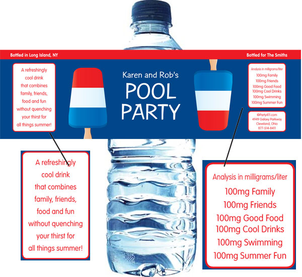 Patriotic Popsicle Water Bottle Label
