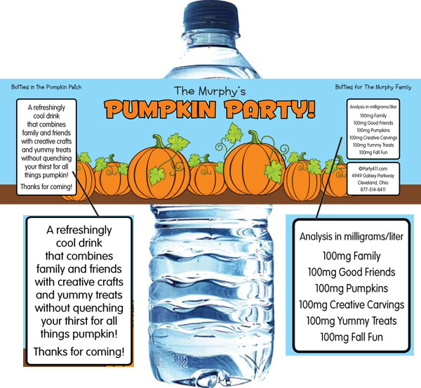 Pumpkin Party Water Bottle Label