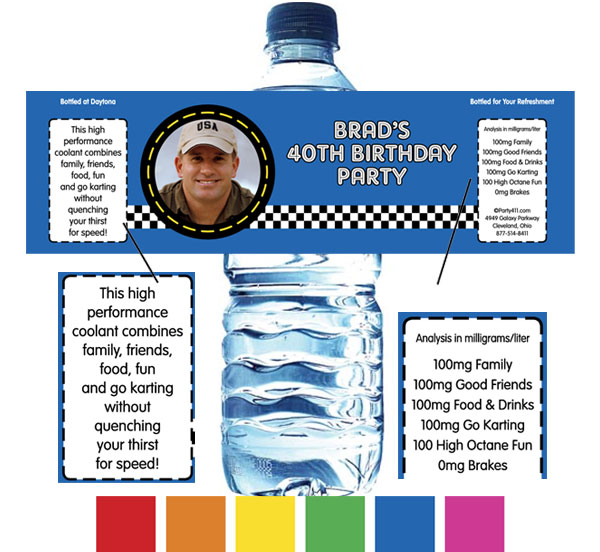Car Racing Water Bottle Label / Great for when they cross the finish line!