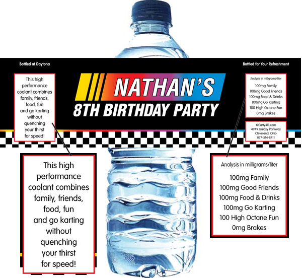 Racing Flag Water Bottle Label / Racing theme water bottle labels