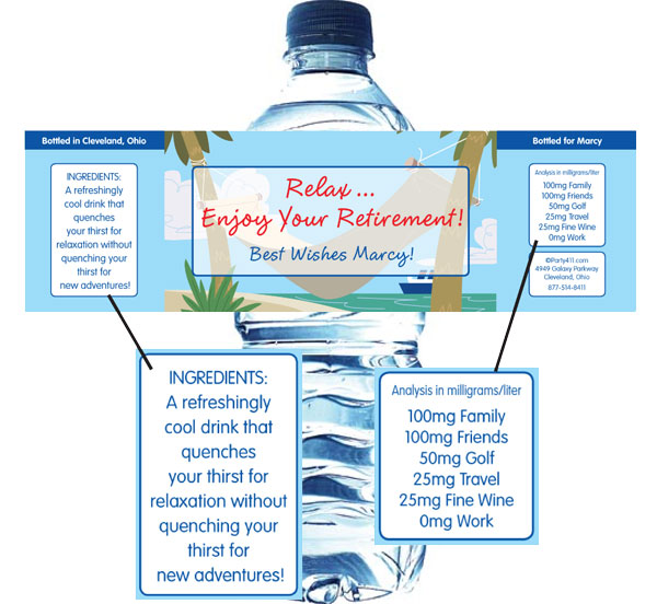 A Retirement Theme Water Bottle Label / A fun retirement theme custom water bottle label